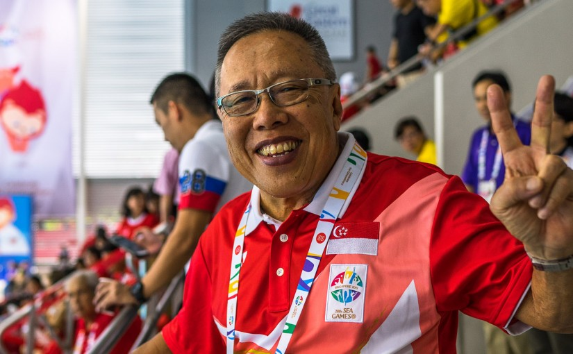 Waterpolo Men Gold Medal Match, President of Singapore Rugby Union Mr Low Teow Ping is supporting our waterpolo team at AQC (Jeffrey Chiang / Sport Singapore)