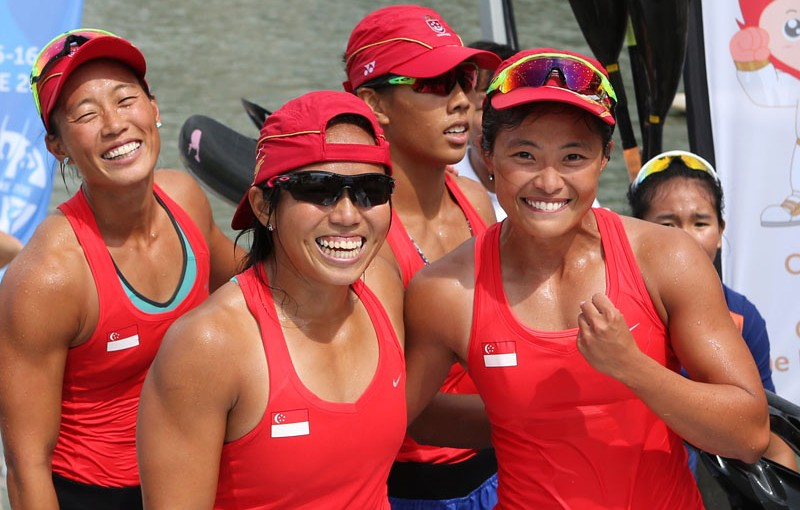 28th SEA Games Singapore 2015 - Marina Channel - 8/6/15  Canoeing - Women's K4-500m - Final - The Singapore team (L-R) Annabelle Ng, Sarah Chen, Geraldine Lee and Soh Sze Ying celebrate winning TEAMSINGAPORE Mandatory Credit: Singapore SEA Games Organising Committee / Action Images via Reuters
