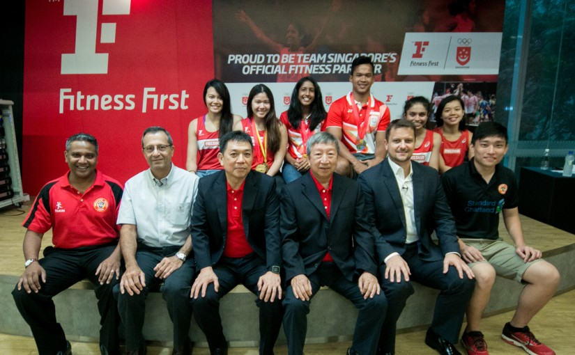 Members of the SNOC, Fitness First and the athletes mark the signing of the official partnership to benefit TeamSG (formal)
